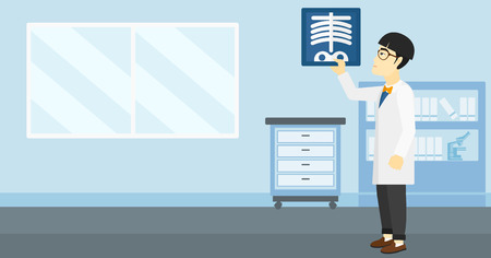 doctor examine: An asian doctor examining a radiograph on the background of medical office vector flat design illustration. Horizontal layout.