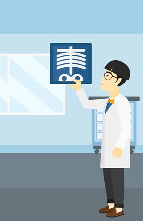 doctor examine: An asian doctor examining a radiograph on the background of medical office vector flat design illustration. Vertical layout. Illustration