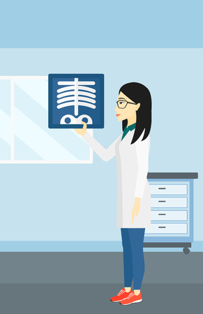 radiograph: An asian doctor examining a radiograph on the background of medical office vector flat design illustration. Vertical layout. Illustration