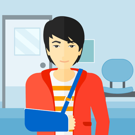 hospital corridor: An asian man with broken arm in bandages standing on the background of hospital corridor vector flat design illustration. Square layout.