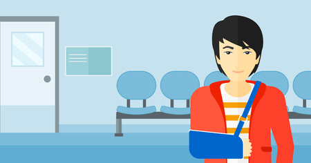 hospital corridor: An asian man with broken arm in bandages standing on the background of hospital corridor vector flat design illustration. Horizontal layout. Illustration
