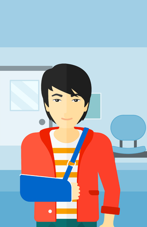 hospital corridor: An asian man with broken arm in bandages standing on the background of hospital corridor vector flat design illustration. Vertical layout.