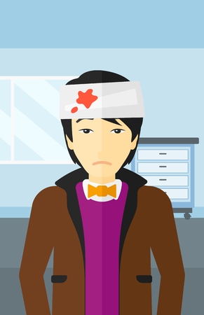 An asian man with bandages over his head on a hospital background vector flat design illustration. Vertical layout.