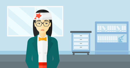 An asian woman with bandages over her head on a hospital background vector flat design illustration. Horizontal layout.