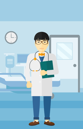 hospital ward: An asian happy doctor with stethoscope and a file  on the background of hospital ward vector flat design illustration. Vertical layout.