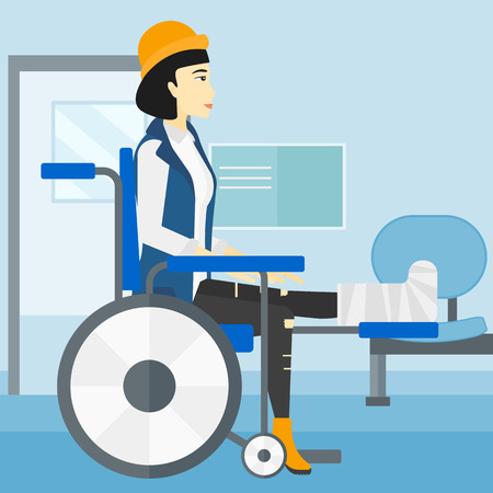 sprain: An asian woman with broken leg sitting in wheelchair on a background of hospital corridor vector flat design illustration. Square layout.