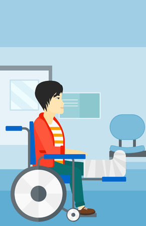 sprain: An asian man with broken leg sitting in wheelchair on a background of hospital corridor vector flat design illustration. Vertical layout. Illustration