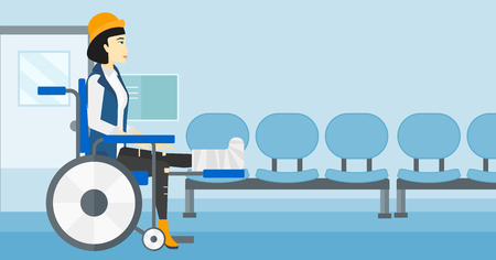 transportation cartoon: An asian woman with broken leg sitting in wheelchair on a background of hospital corridor vector flat design illustration. Horizontal layout.