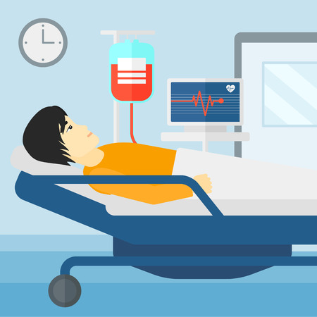 ward: An asian man lying in hospital ward with heart rate monitor while blood transfusion is running vector flat design illustration. Square layout.