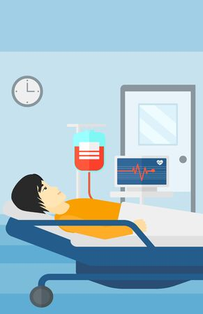 lying in: An asian man lying in hospital ward with heart rate monitor while blood transfusion is running vector flat design illustration. Vertical layout. Illustration