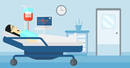 lying in: An asian woman lying in hospital ward with heart rate monitor while blood transfusion is running vector flat design illustration. Horizontal layout. Illustration