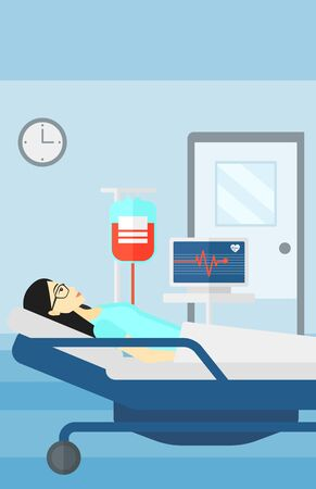 woman lying in bed: An asian woman lying in hospital ward with heart rate monitor while blood transfusion is running vector flat design illustration. Vertical layout.