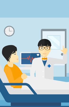 심장 박동 모니터 벡터 평면 디자인 일러스트와 함께 병원 병동에서 환자 돌보는 아시아 의사. 세로 레이아웃.