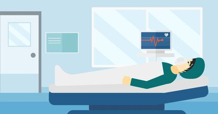 An asian man in oxygen mask lying in hospital ward with heart rate monitor vector flat design illustration. Horizontal layout.