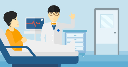 ward: An asian doctor taking care of patient in the hospital ward with heart rate monitor vector flat design illustration.  Horizontal layout.