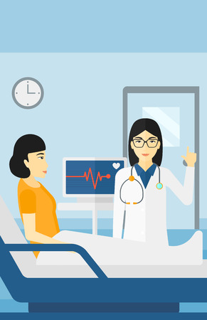 An asian doctor taking care of patient in the hospital ward with heart rate monitor vector flat design illustration. Vertical layout.