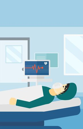 oxygen mask: An asian man in oxygen mask lying in hospital ward with heart rate monitor vector flat design illustration. Vertical layout.