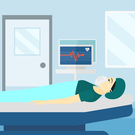 heart monitor: An asian woman in oxygen mask lying in hospital ward with heart rate monitor vector flat design illustration. Square layout.