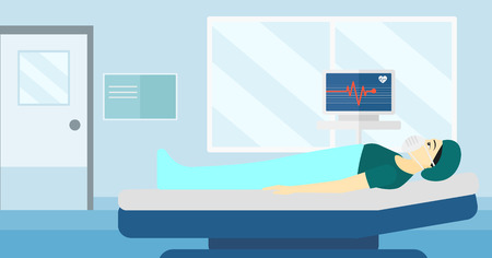 oxygen mask: An asian woman in oxygen mask lying in hospital ward with heart rate monitor vector flat design illustration. Horizontal layout.