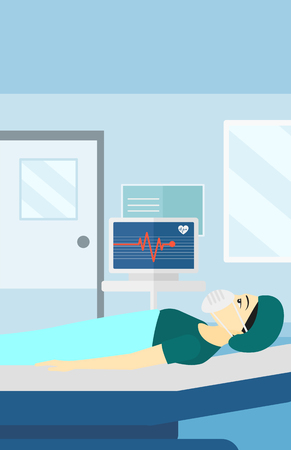 woman lying in bed: An asian woman in oxygen mask lying in hospital ward with heart rate monitor vector flat design illustration. Vertical layout.