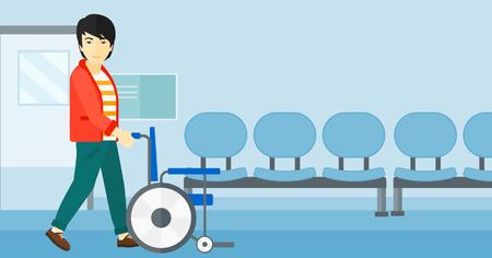Een Aziatische man te duwen lege rolstoel op de achtergrond van het ziekenhuisgang vector platte ontwerp illustratie. Horizontale lay-out. Stock Illustratie