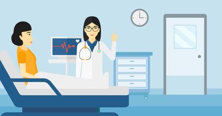 심장 박동 모니터 벡터 평면 디자인 일러스트와 함께 병원 병동에서 환자 돌보는 아시아 의사. 가로 레이아웃입니다.