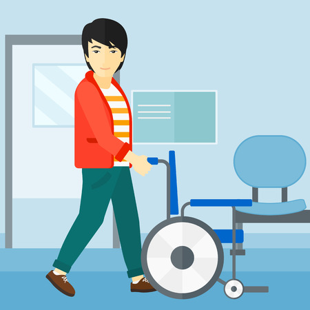mobility nursing: An asian man pushing empty wheelchair on the background of hospital corridor vector flat design illustration. Square layout.