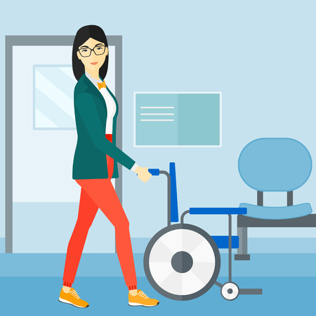 Een Aziatische vrouw die lege rolstoel op de achtergrond van illustratie van het de gang de vector vlakke ontwerp van het ziekenhuis duwen. Vierkante lay-out.