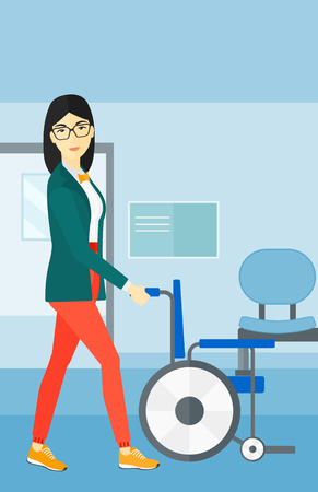 An asian woman pushing empty wheelchair on the background of hospital corridor vector flat design illustration. Vertical layout.