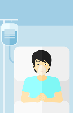 lying in bed: An asian man lying in hospital bed with oxygen mask while blood transfusion is running vector flat design illustration. Vertical layout.