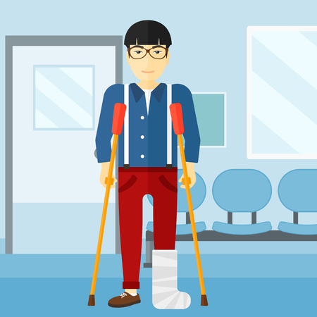 An asian injured man with broken leg standing with crutches on the background of hospital corridor vector flat design illustration. Square layout.