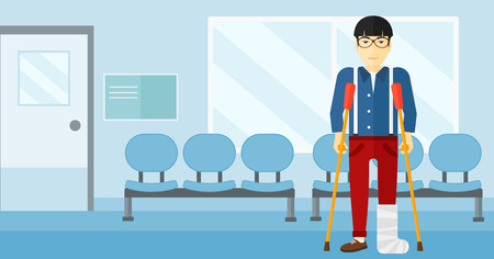 accident patient: An asian injured man with broken leg standing with crutches on the background of hospital corridor vector flat design illustration. Horizontal layout.