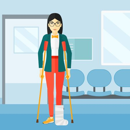 An asian injured woman with broken leg standing with crutches on the background of hospital corridor vector flat design illustration. Square layout.