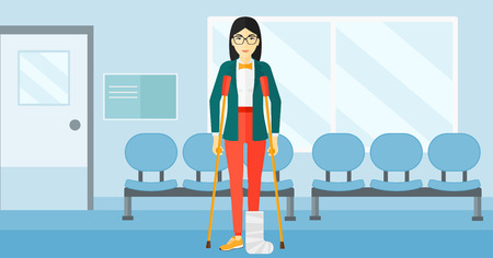 An asian injured woman with broken leg standing with crutches on the background of hospital corridor vector flat design illustration. Horizontal layout.