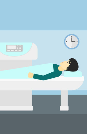 An asian man undergoes an open magnetic resonance imaging scan procedure in hospital vector flat design illustration. Vertical layout.