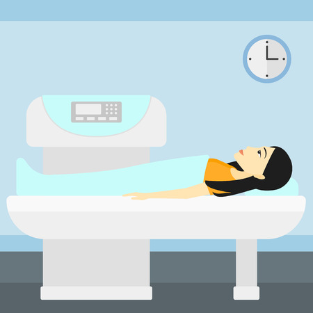 magnetic resonance imaging: An asian woman undergoes an open magnetic resonance imaging scan procedure in hospital vector flat design illustration. Square layout.