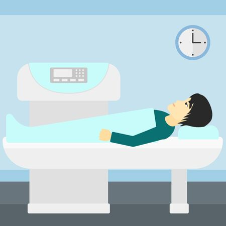 magnetic resonance imaging: An asian man undergoes an open magnetic resonance imaging scan procedure in hospital vector flat design illustration. Square layout.