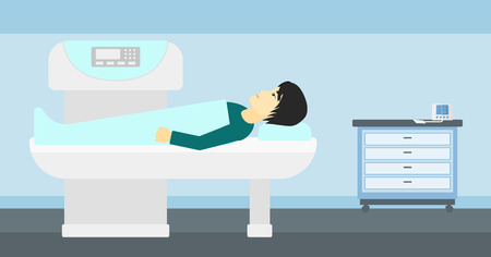 xray machine: An asian man undergoes an open magnetic resonance imaging scan procedure in hospital vector flat design illustration. Horizontal layout.