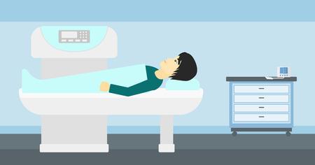 resonancia magnetica: Un hombre asi�tico se somete a un procedimiento de examen de resonancia magn�tica abierta en el vector del hospital ilustraci�n dise�o plano. disposici�n horizontal. Vectores