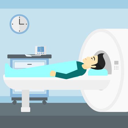 magnetic resonance imaging: An asian man undergoes an magnetic resonance imaging scan test in hospital vector flat design illustration. Square layout. Illustration