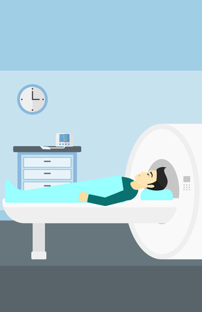 An asian man undergoes an magnetic resonance imaging scan test in hospital vector flat design illustration. Vertical layout.