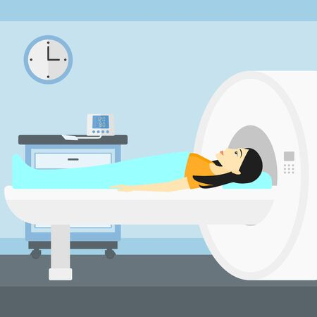 An asian woman undergoes an magnetic resonance imaging scan test in hospital vector flat design illustration. Square layout. Ilustracja