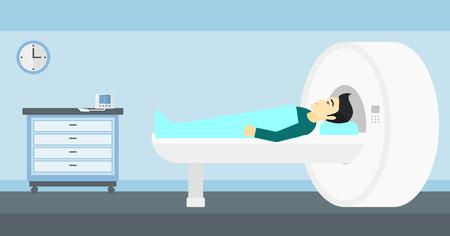 magnetic resonance imaging: An asian man undergoes an magnetic resonance imaging scan test in hospital vector flat design illustration. Horizontal layout. Illustration