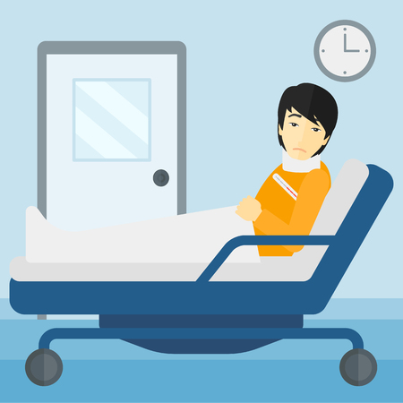 lying in: An asian man with injured neck lying in bed in hospital ward vector flat design illustration. Square layout.