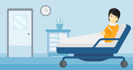 An asian man with injured neck lying in bed in hospital ward vector flat design illustration. Horizontal layout. Stock Illustratie