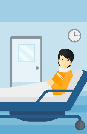 lying in: An asian man with injured neck lying in bed in hospital ward vector flat design illustration. Vertical layout. Illustration