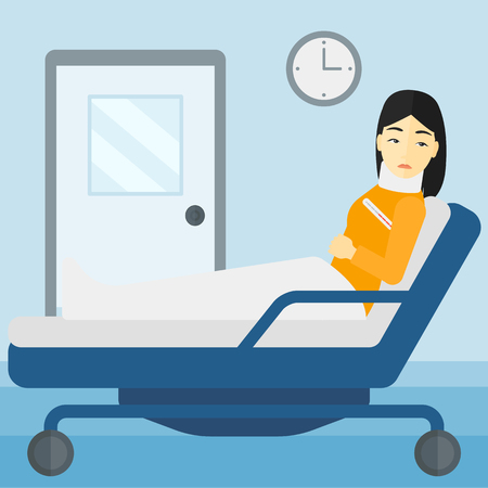 woman lying in bed: An asian woman with injured neck lying in bed in hospital ward vector flat design illustration. Square layout.