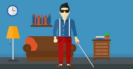 and the horizontal man: An asian blind man in dark glasses standing with walking stick on the background of furnished room vector flat design illustration. Horizontal layout.