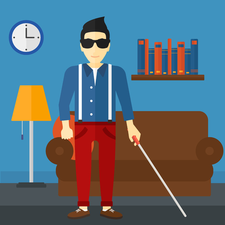 poor eyesight: An asian blind man in dark glasses standing with walking stick on the background of furnished room vector flat design illustration. Square layout.