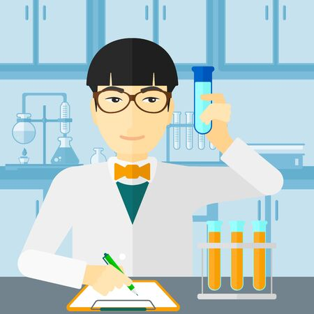 holding notes: An asian man taking some notes and holding a test tube on the background of laboratory vector flat design illustration. Square layout.